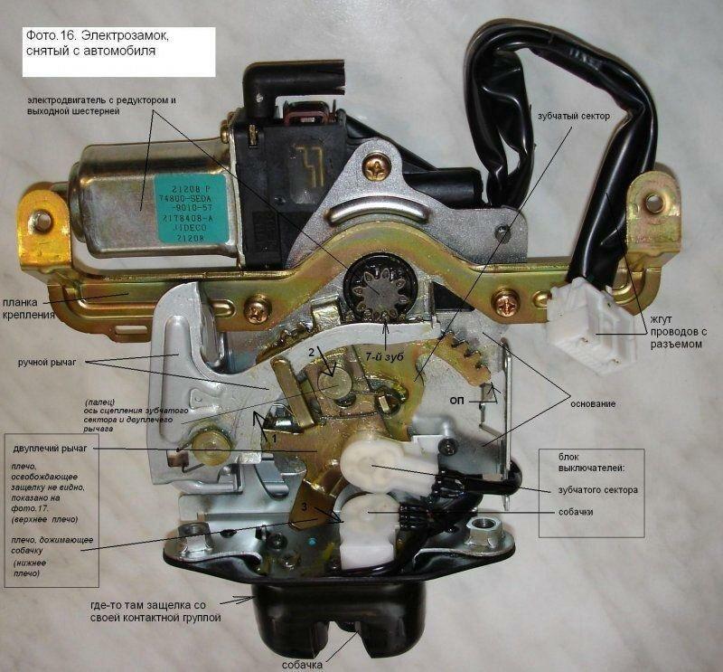 Устройство электрозамка багажника